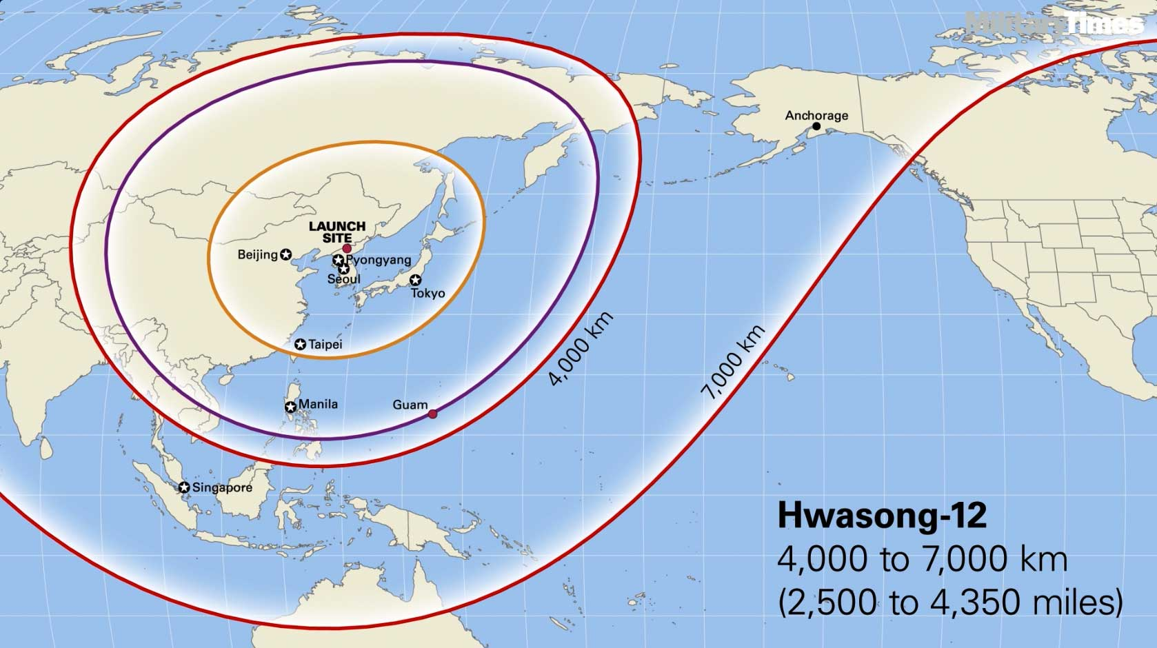 Infographic Ballistic missile ranges from North Korea