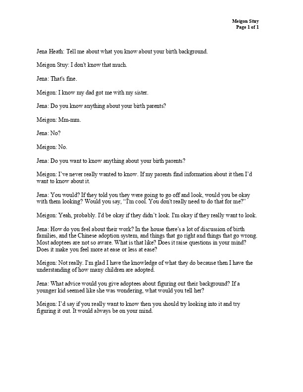 Meigon's transcript