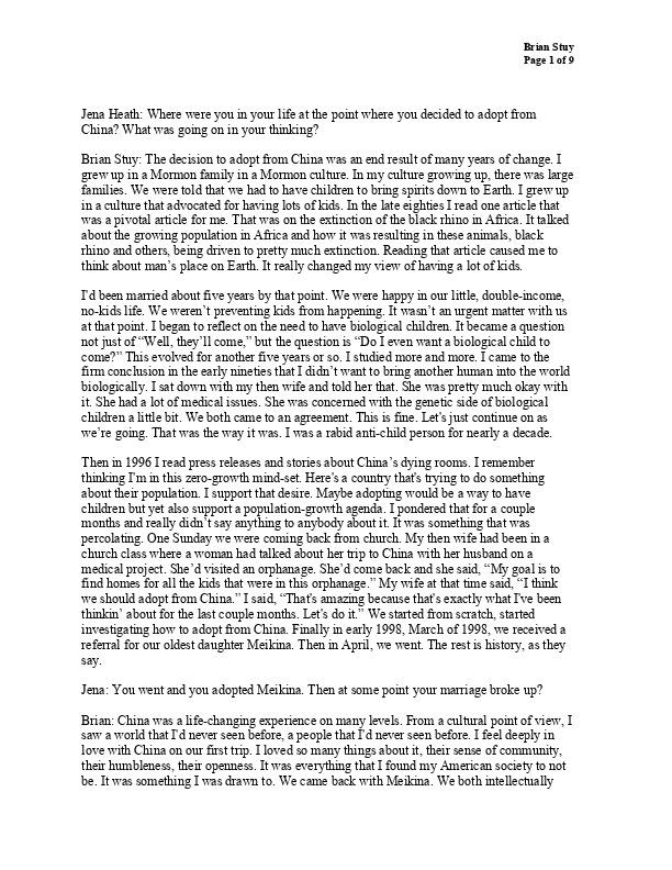 Brian's transcript
