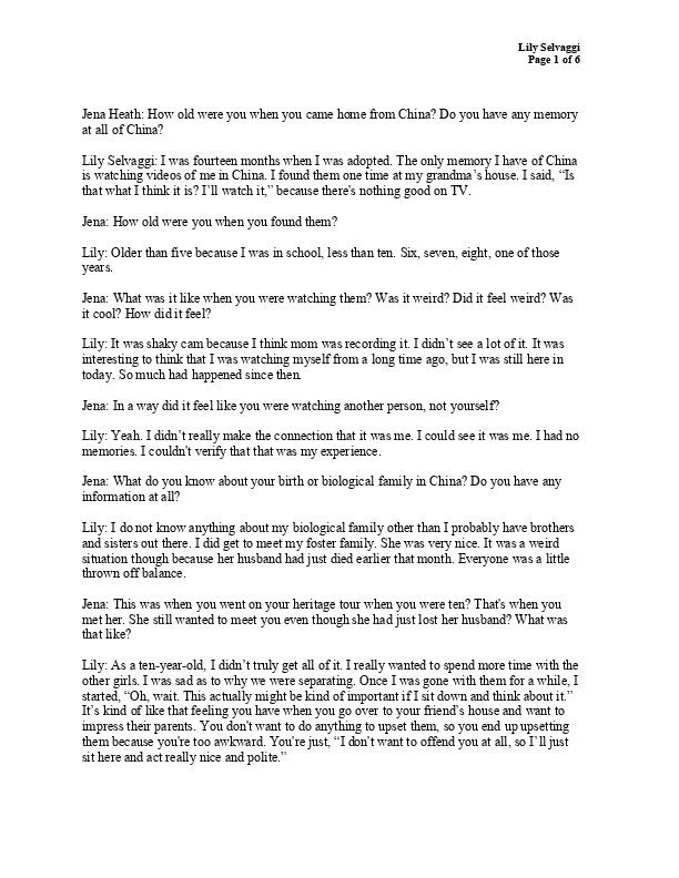 Lily Selvaggi Transcript