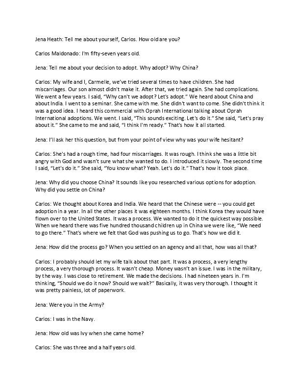 Carlos's transcript