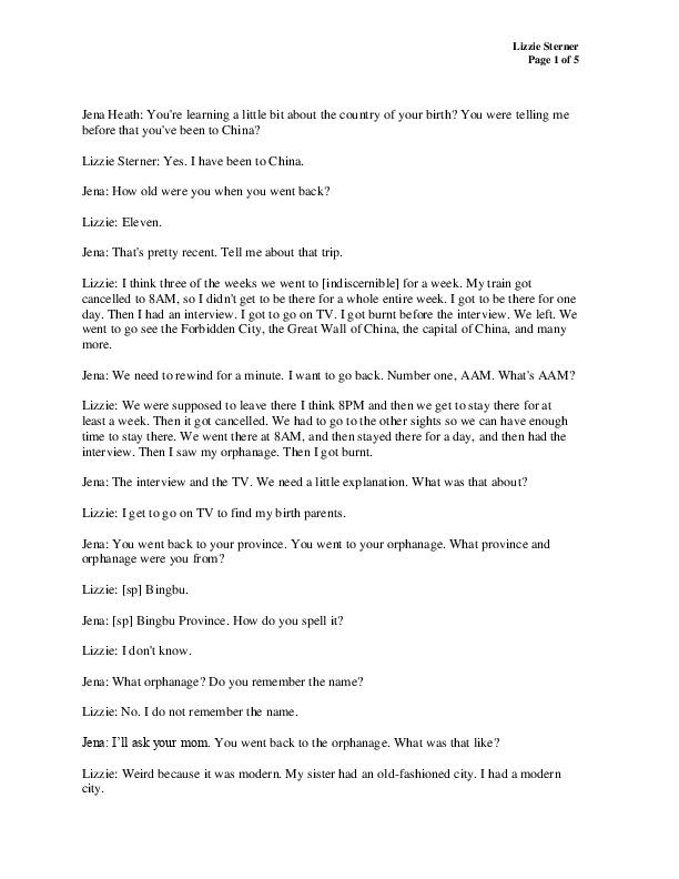 Lizzie's transcript