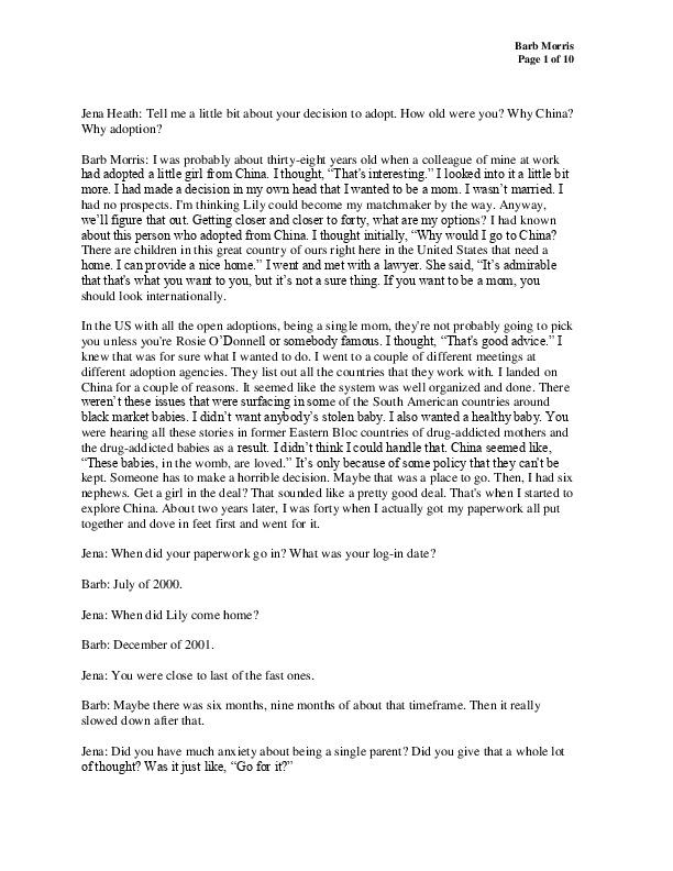 Barb's transcript