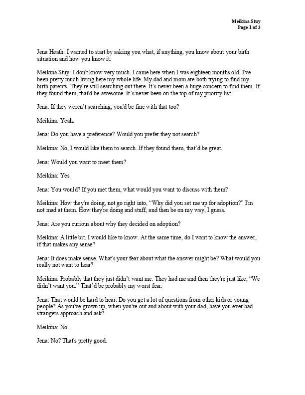 Meikina's transcript
