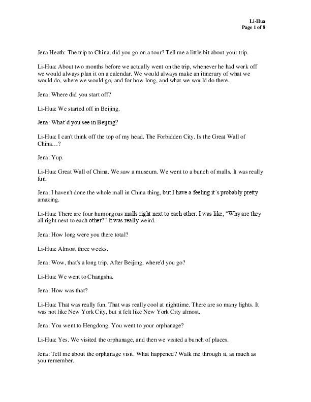 Li Hua's transcript