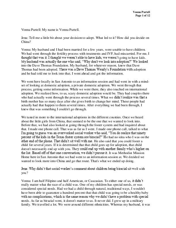 Vonna's transcript