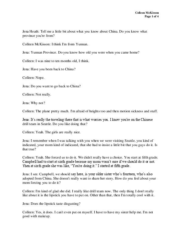 Colleen's transcript