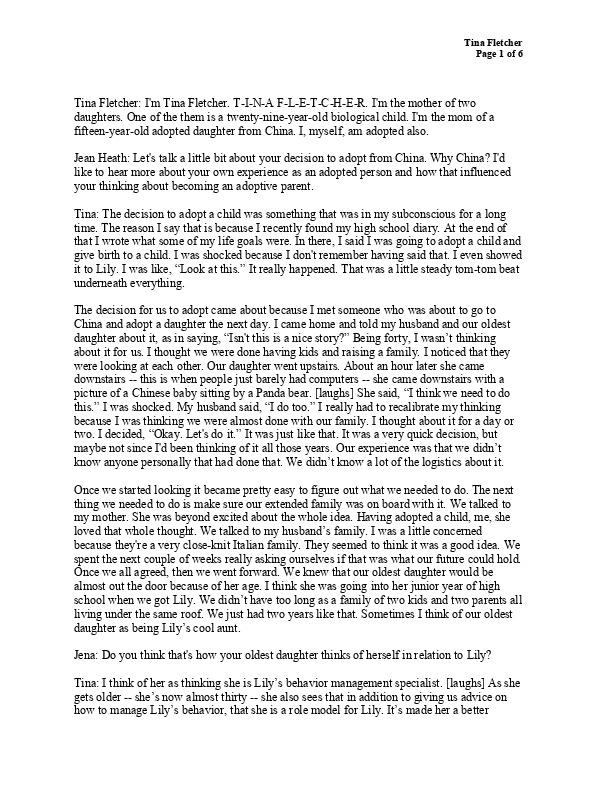 Tina Fletcher's transcript