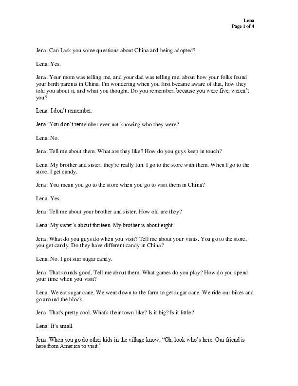Lena's transcript