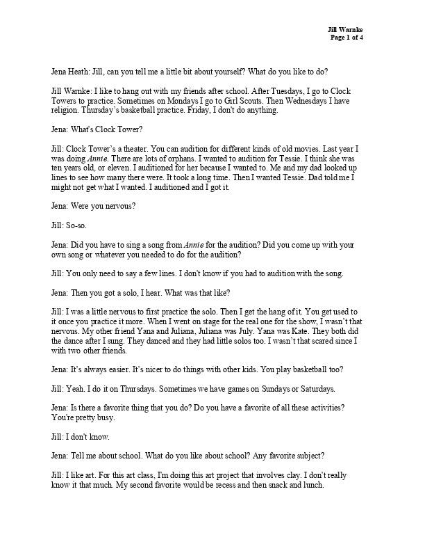 Jill's transcript