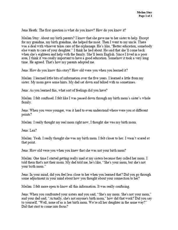 Meilan's transcript
