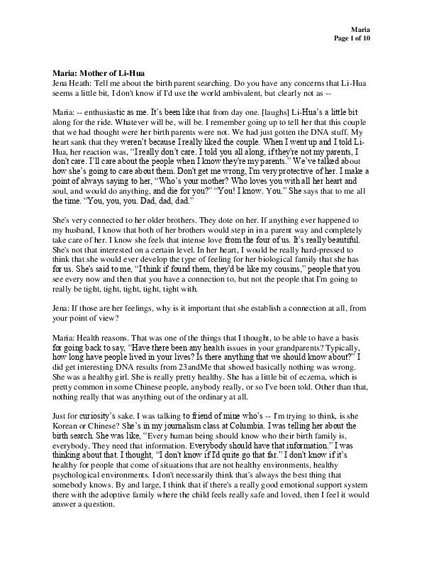 Maria's transcript
