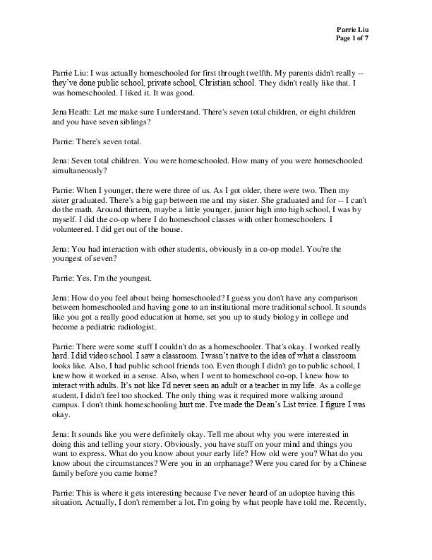 Parrie Liu's transcript