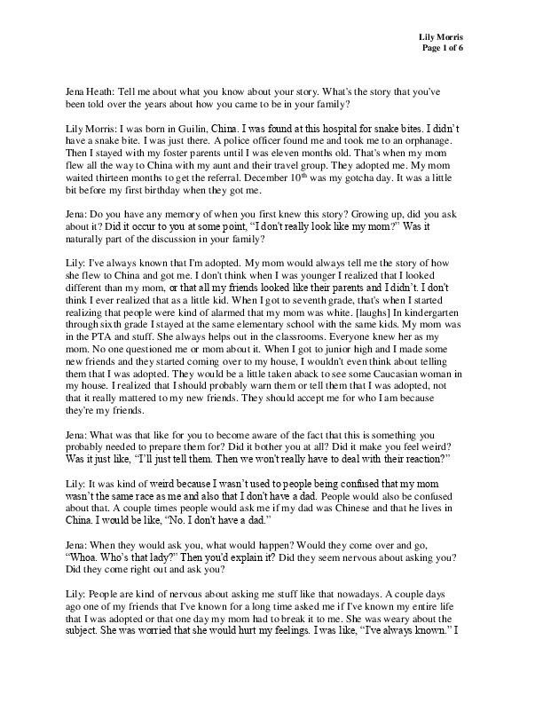Lily's transcript