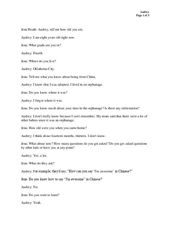 Audrey's transcript