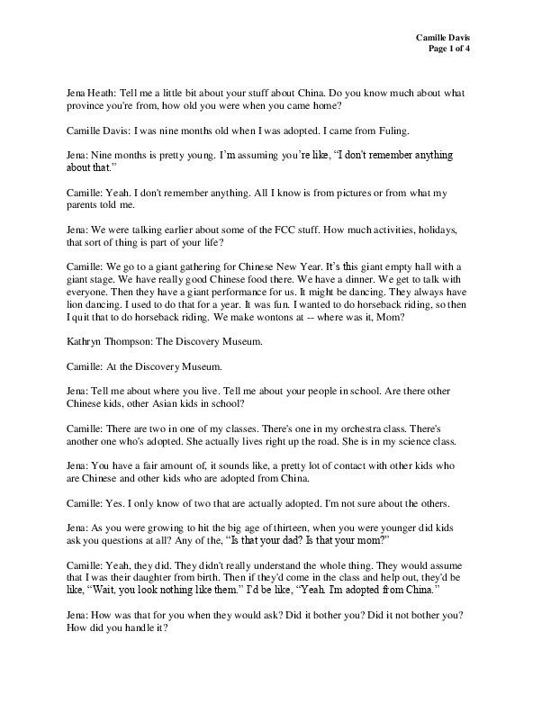 Camille's transcript