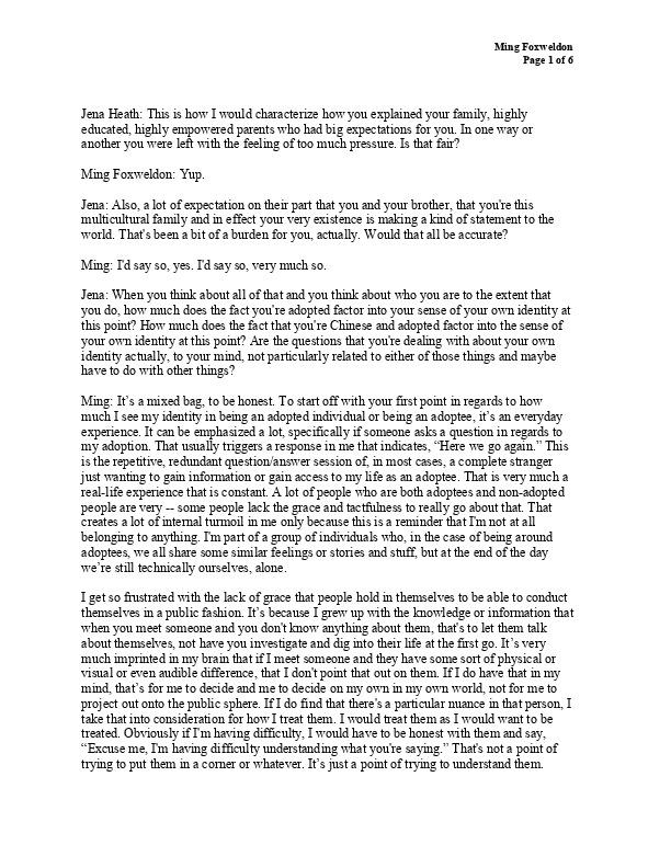 Ming's transcript