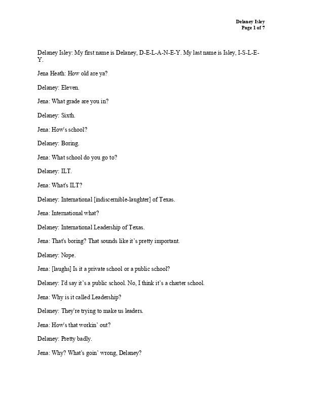 Delaney's transcript