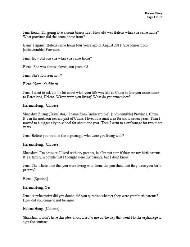 Helena's transcript
