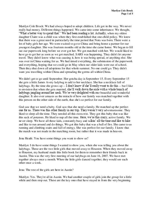 Marilyn's transcript