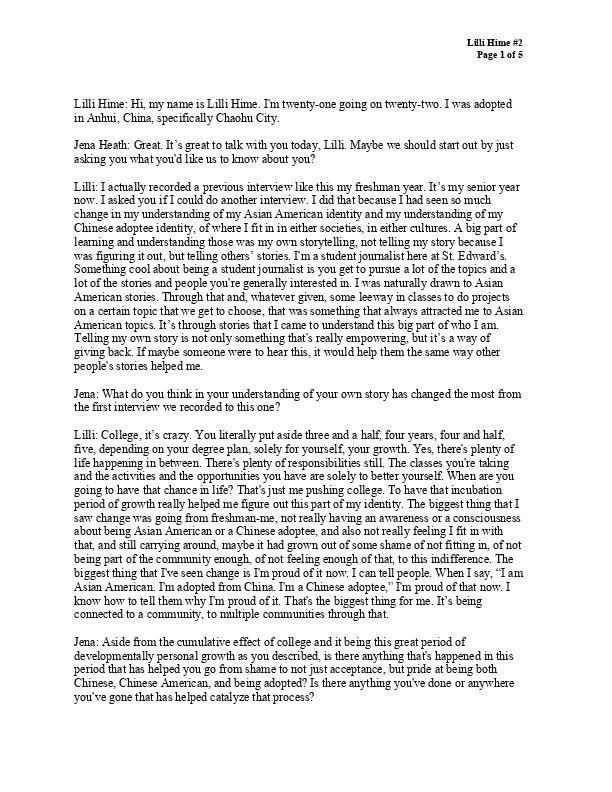 Lilli's transcript, 2019