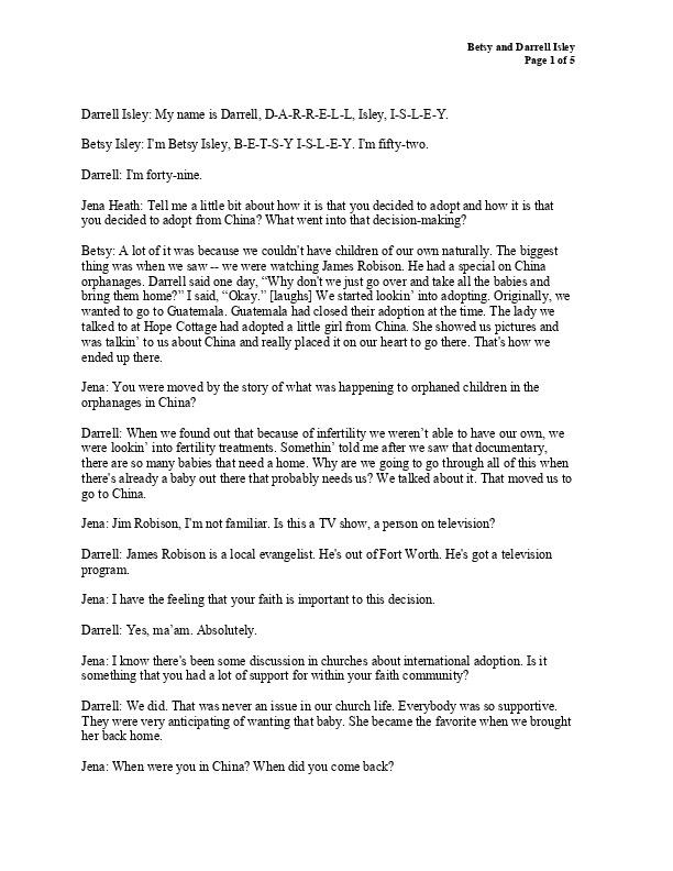 Betsy and Darrell's transcript