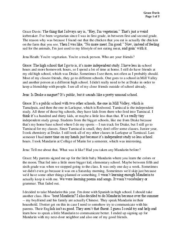 Grace Davis, transcript