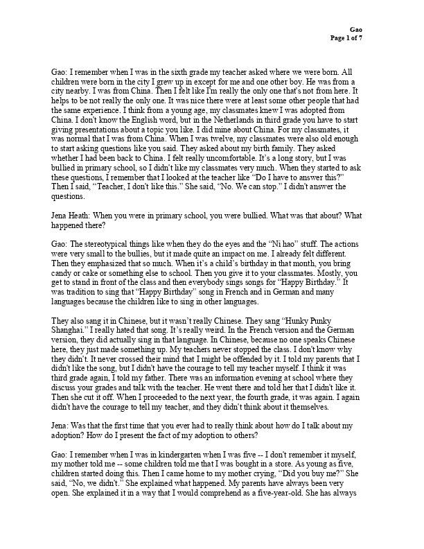 Gao's transcript