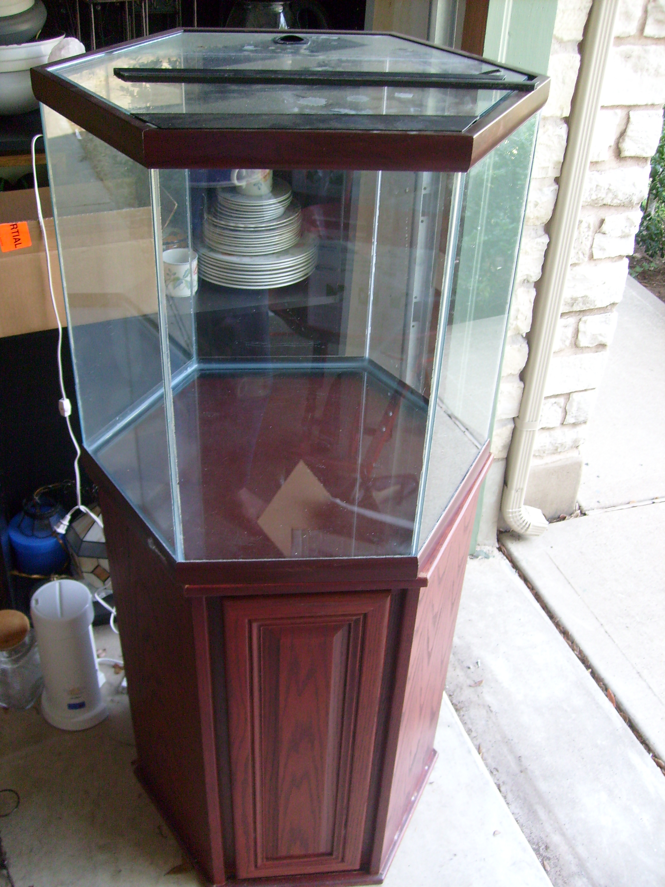 Wts Oceanic 42 Gallon Cherry Hex Tank And Stand Hardware