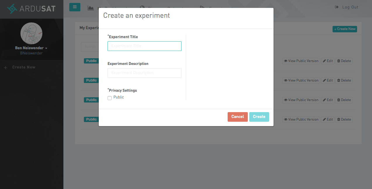 Create an Experiment page