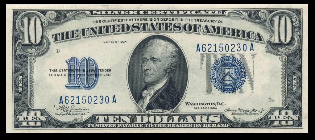 $10 1934 Silver Certificate