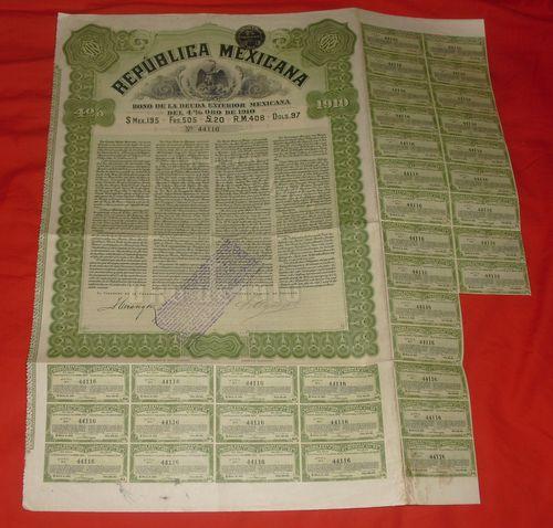 Mexico 1910 4% Gold bond