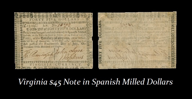Va $45 Spanish Milled Dollars