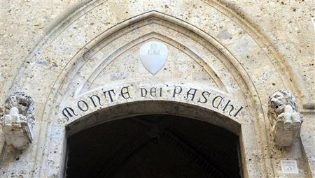 The main entrance at the Monte dei Paschi headquarters is seen in Siena