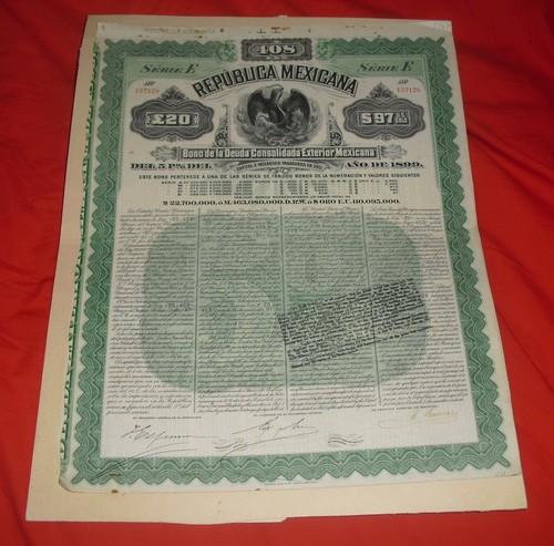Mexico 1899 Bond
