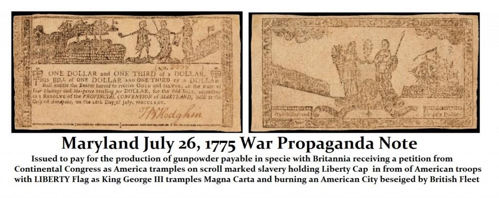 Maryland 1775 Propaganda Note