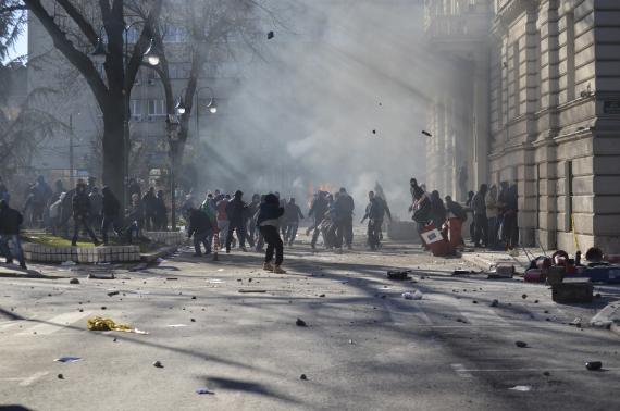 Anti-government protesters clash with police in Sarajevo