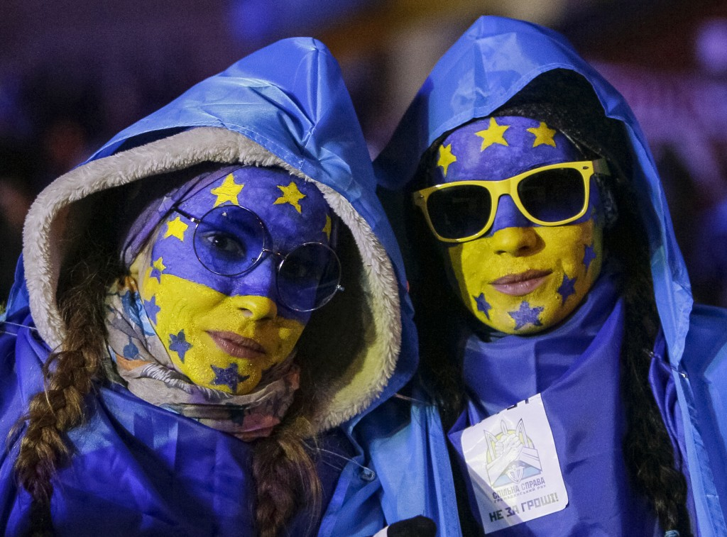 People supporting EU integration attend a rally at Independence Square in Kiev