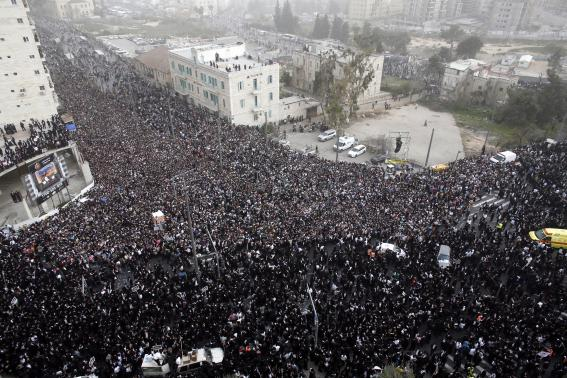 Ultra-Orthodox Jews take part in a mass prayer in Jerusalem