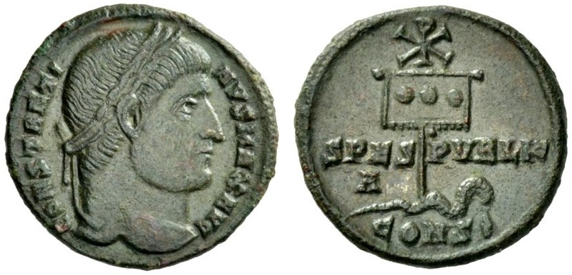 AE Follis 325-328 Christian Symbol