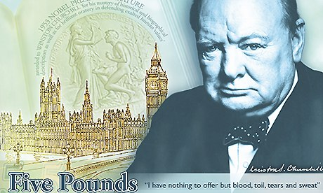 Polymer five pound note