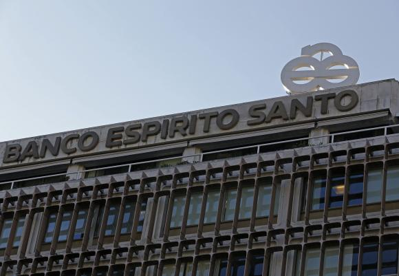 The logo of Portuguese bank Banco Espirito Santo (BES) is seen at their headquarters in downtown Lisbon