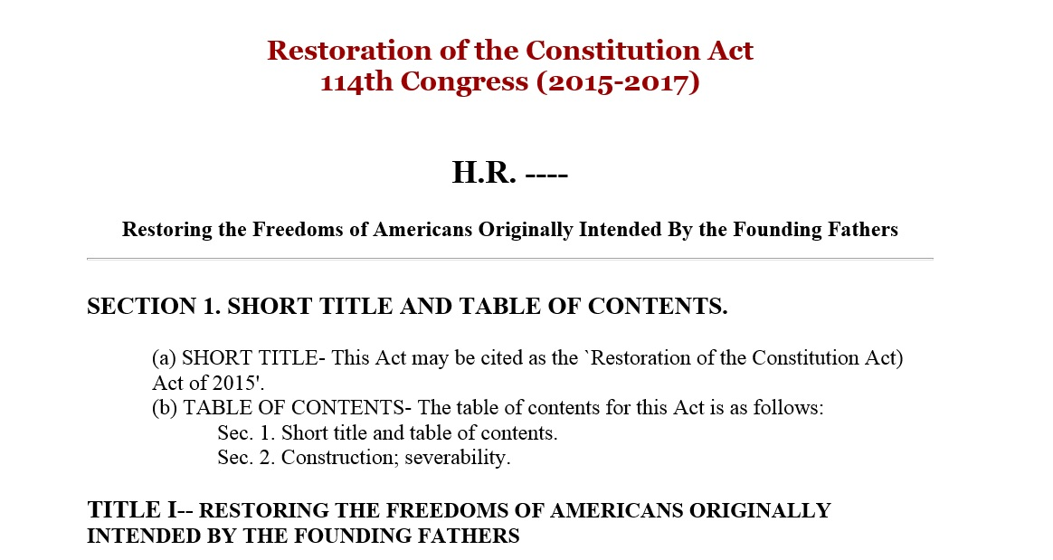 Restoration of the Constitution Act