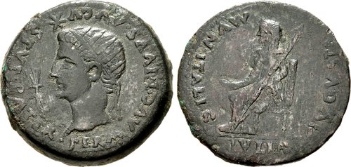 SPAIN, Italica Divus Augustus, with Livia Died AD 14 Æ Dupondius (35mm, 24,85 g, 2h) Struck under Tiberius