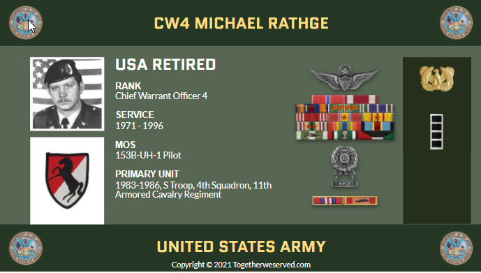 CW4 Michael Rathge - In what ways has TogetherWeServed.com helped you remember your military service and the friends you served with.