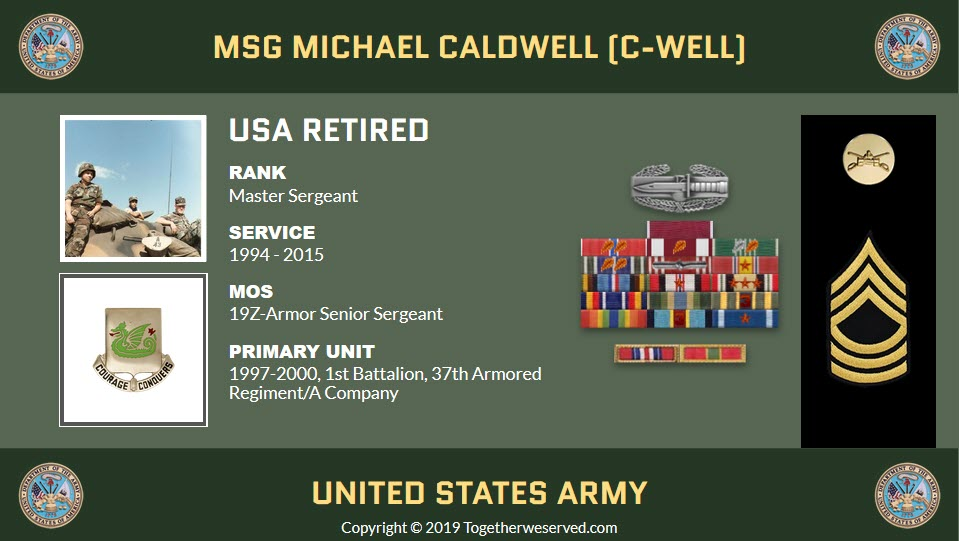 MSG Michael Caldwell (C-Well) - In what ways has TogetherWeServed.com helped you remember your military service and the friends you served with.