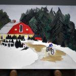 Barn, trees, details, cyclist