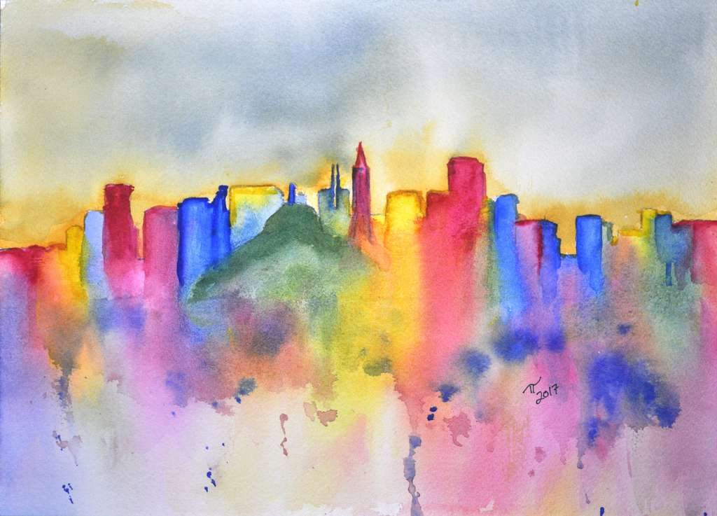 Colourful abstract San Fransisco skyline