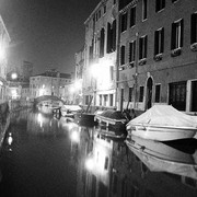 Venice_canal_at_night_b_w_card