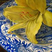 6x6_yellow_lily_on_spode_blue_italian_plate_card